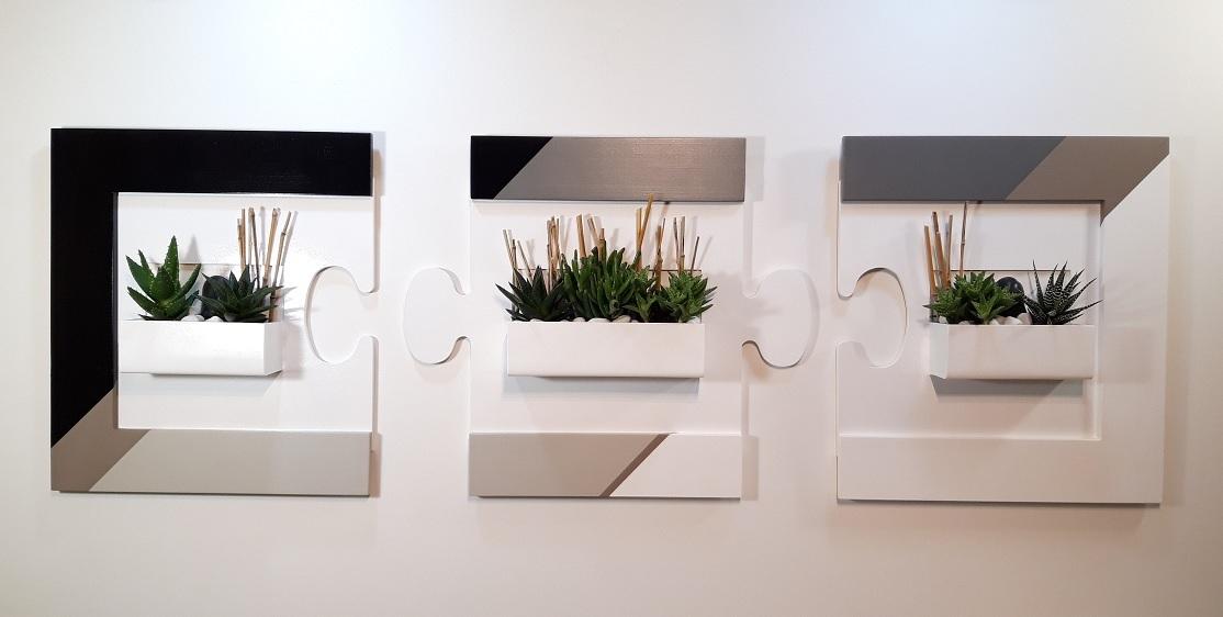 Cadre succulentes Puzzle Triptyque