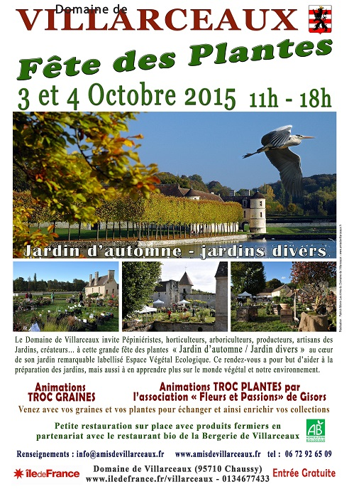 Affiche Fête des plantes Villarceaux 2015