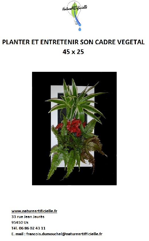 Notice d'utilisation carde végétal 45 x 25